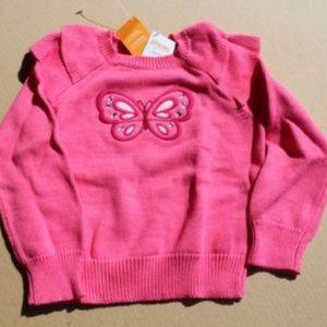 Gymboree Butterfly Girl Ruffle Shoulder Sweater XS